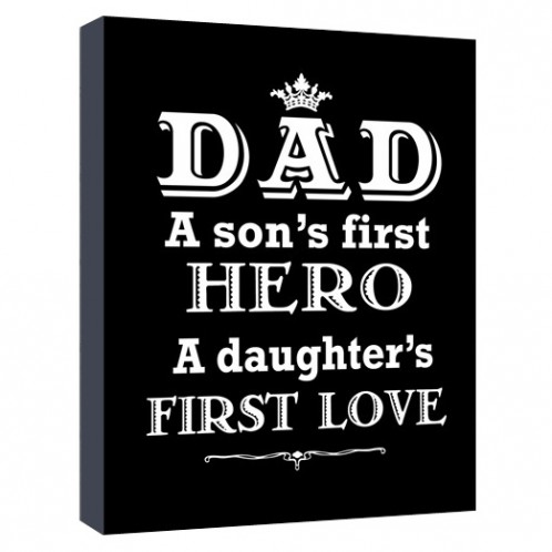 Dad a sons first hero canvas art