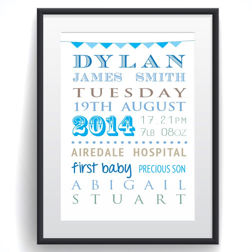 Personalised Baby Word Cloud Print