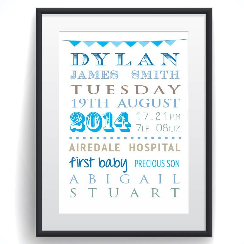 Personalised Baby Word Cloud Print