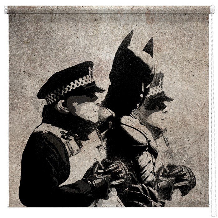 Banksy Batman And The Police Printed Blind Picture