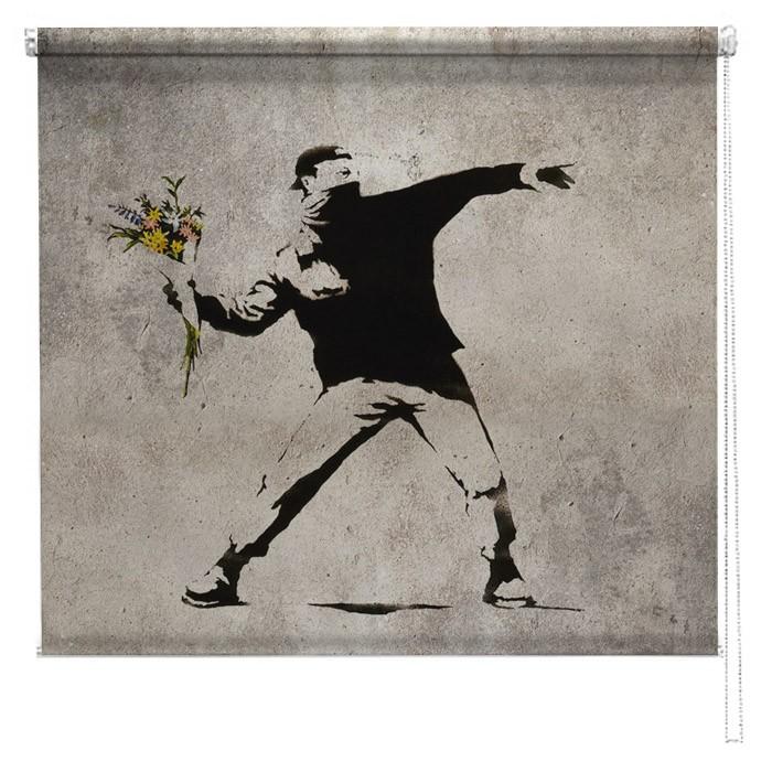 Banksy Graffiti Printed Blind Flower Thrower Picture