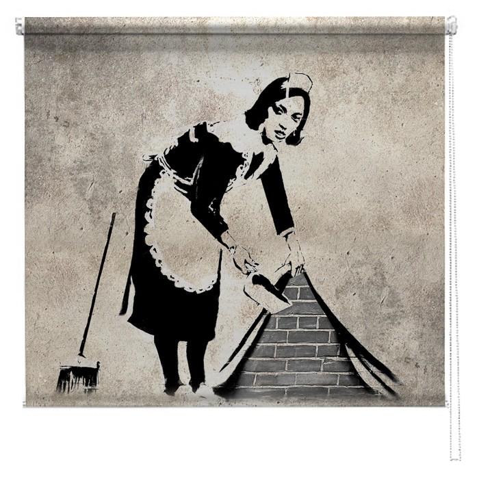 Banksy Graffiti Printed Blind Sweeping It Under The Carpet