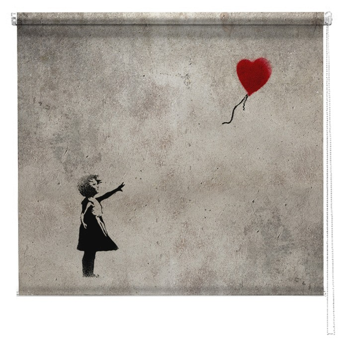 banksy graffiti printed blind balloon girl picture. Black Bedroom Furniture Sets. Home Design Ideas
