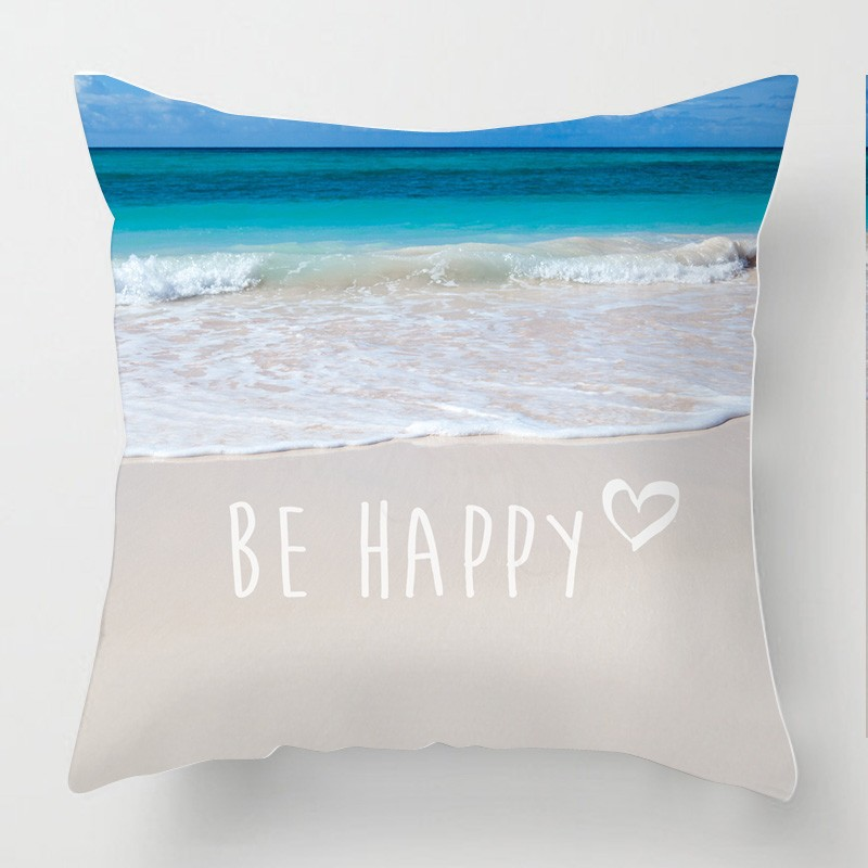 Be Happy Inspirational Quote Seascape Photo Cushion