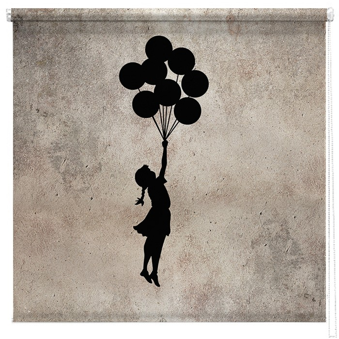 banksy flying balloon girl printed blind picture printed. Black Bedroom Furniture Sets. Home Design Ideas