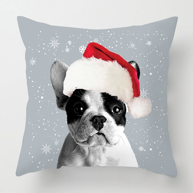 French bulldog cushion on a red background with a christmas santa hat ...