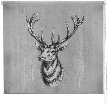grey vintage stag printed blind