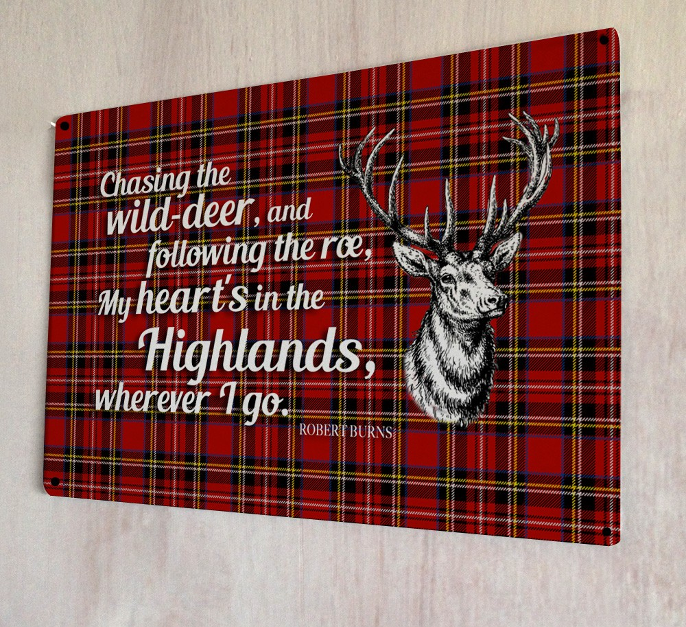 Export Portal Word Art For Walls Decor: My Heart's In The Highlands Burns Poem Metal Sign