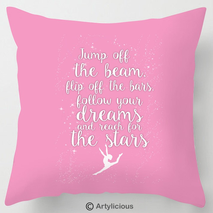 Jump Off The Beam Gymnastics Quote Cushion