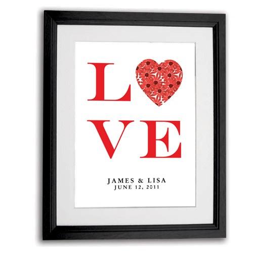 Art Print Wedding Gift : Personalised LOVE Wedding gift art print