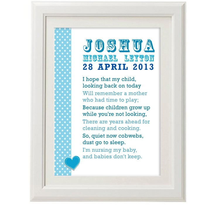 Personalised baby poem christening print negle Gallery