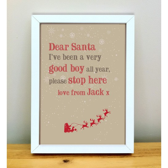 Dear santa personalised christmas art print for Personalised word art template