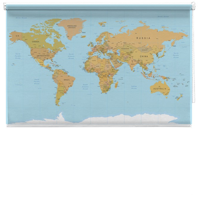 World Map Printed Blind Picture Printed Blinds At