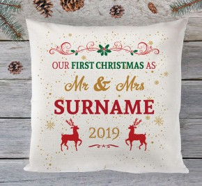 1st christmas as mr & mrs cushion