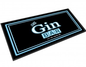 The Gin Bar, blue neon styl bar runner mat