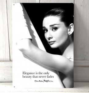 Audrey Hepburn Elegance quote quote metal sign