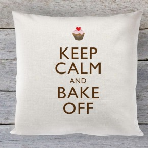 Keep Calm and Bake Off quote linen cushion