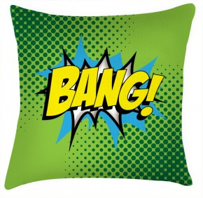 BANG comic funky style green cushion