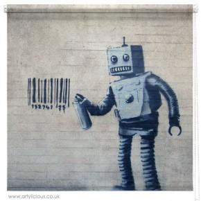 Banksy barcode Robot printed blind