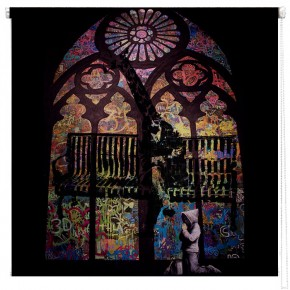 Banksy Stained glass window printed blind