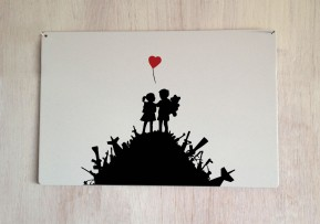 Banksy War children metal sign