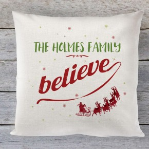 Christmas cushion, personalised believe cushion