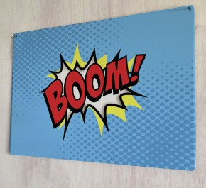Boom Comic metal sign