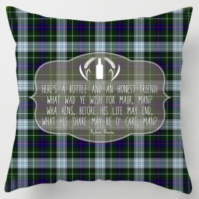 Bottle and Friend, Burns poem green tartan cushion