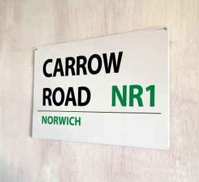 Carrow Road Norwich Street Sign