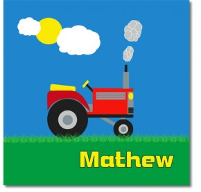 Personalised tractor childrens canvas art