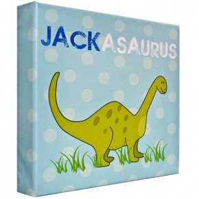 Personalised Dinosaur blue childrens canvas art