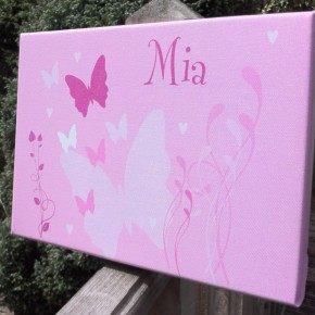 Personalised butterfly childrens canvas art