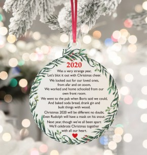 Christmas 2020 Poem Acrylic bauble hanging tree decoration