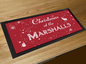 Personalised Christmas Family name bar runner mat