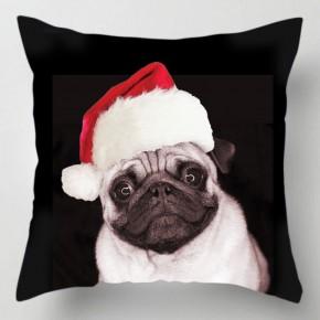 Christmas Pug dog cushion