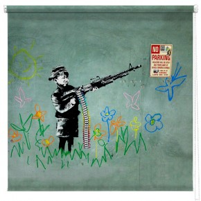 Banksy Crayola shooter printed blind