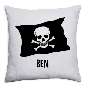 Personalised Pirate flag crossbones Sequin magic reveal childrens cushion