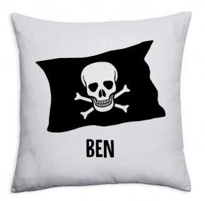 Personalised Pirate flag crossbones Sequin magic reveal childrens cushion