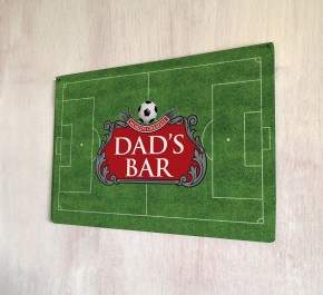 Dad's Bar Beer Label Football Pitch Metal Sign