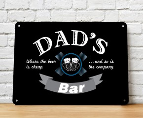 Dad's Bar black wall metal sign