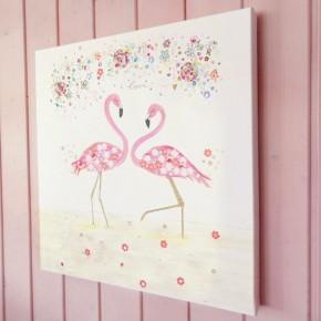 flamingo love illustration canvas