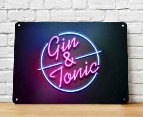 Gin & Tonic cocktail bar sign