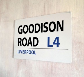 Goodison Road Liverpool Street Sign