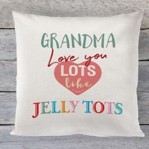 Grandma love you lots like jelly tots linen cushion