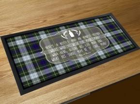 a Bottle & a friend Burns poem bar runner mat