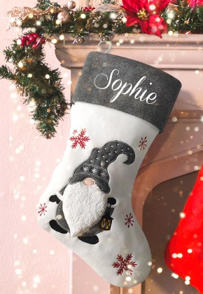 Personalised Christmas Deluxe Stocking, Knome, gonk
