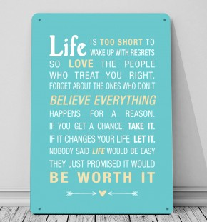 Life is too short for regrets word art print