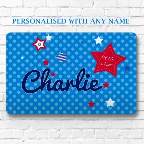 Personalised Little Star children's metal door wall sign