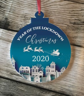 Christmas 2020 Lockdown Acrylic bauble hanging tree decoration