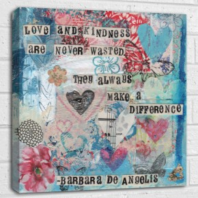 love and kindness quote canvas art